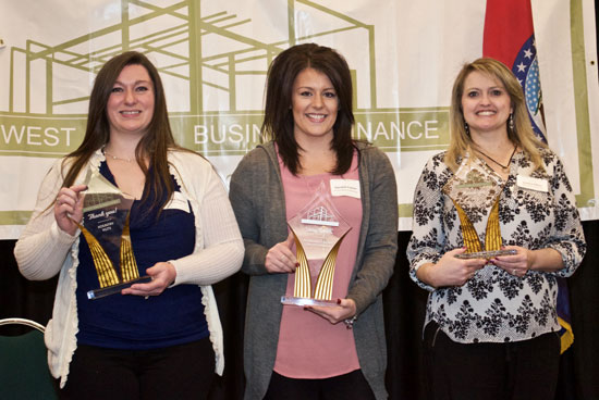 Business owners recognized at the Midwest Small Business Finance annual meeting included (from left) Marissa Orender, owner of Kountry Kuts in Richmond; Danielle Fraizer, representing owner Mary Weber of the Dry Cleaner of Kansas City; and Jessica Edens, co-owner of Dairy Queen, 8530 North Oak Trafficway.